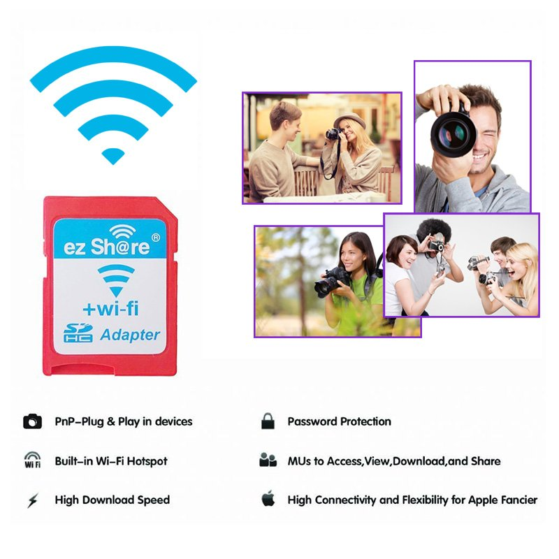 EZ Share Class 10 High Speed MicroSD Card TO Wireless WLAN WiFi SD Card Adapter For Apple IOS Android Digital SLR Camera