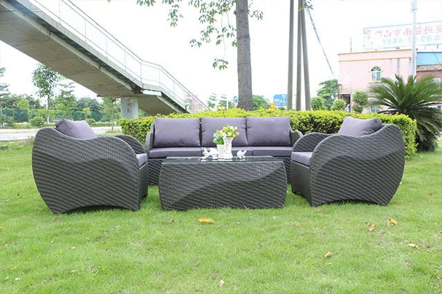 Rust Proof Rattan Outdoor Sofa Furniture Patio 4 Seater Sofa Set Garden Use