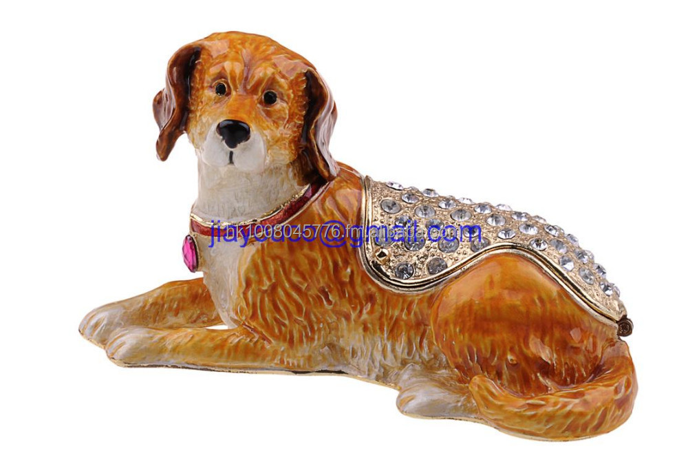 Rhinestone Dog trinket box bejeweled Jewelry Box pet gift for dog lover Russian faberge box metal craft figurine souvenir