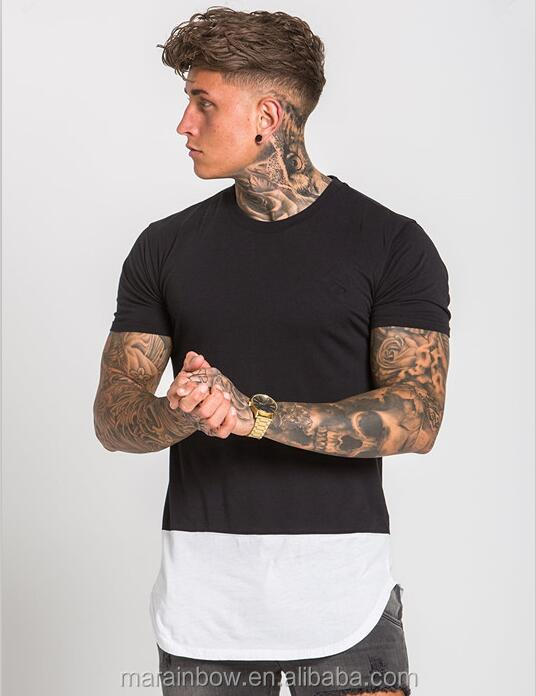 Curved Hem Panel Tee Black/White Men's Gym Fitted T-Shirt Longline Short Sleeve T Shirt 95% Cotton 5% Spandex Fitness T Shirt