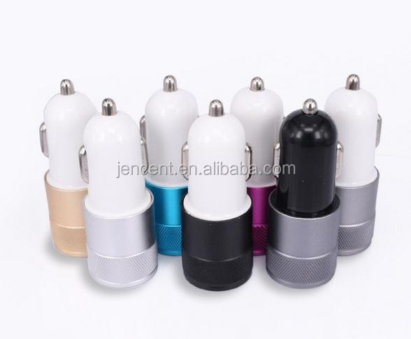2.1A 1.0A Aluminium metal shell 2 ports dual USB Universal Car Charger Quick Charge For iPhone iPad iPod Android smartphone