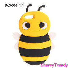 Cute 3D Bumble Bee Cartoon Animal Silicone Case For Iphone 4, For Iphone 5