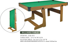 MDF+PB board,laminated with PVC L shape folding leg High quality Kids portable pool table with fresh design