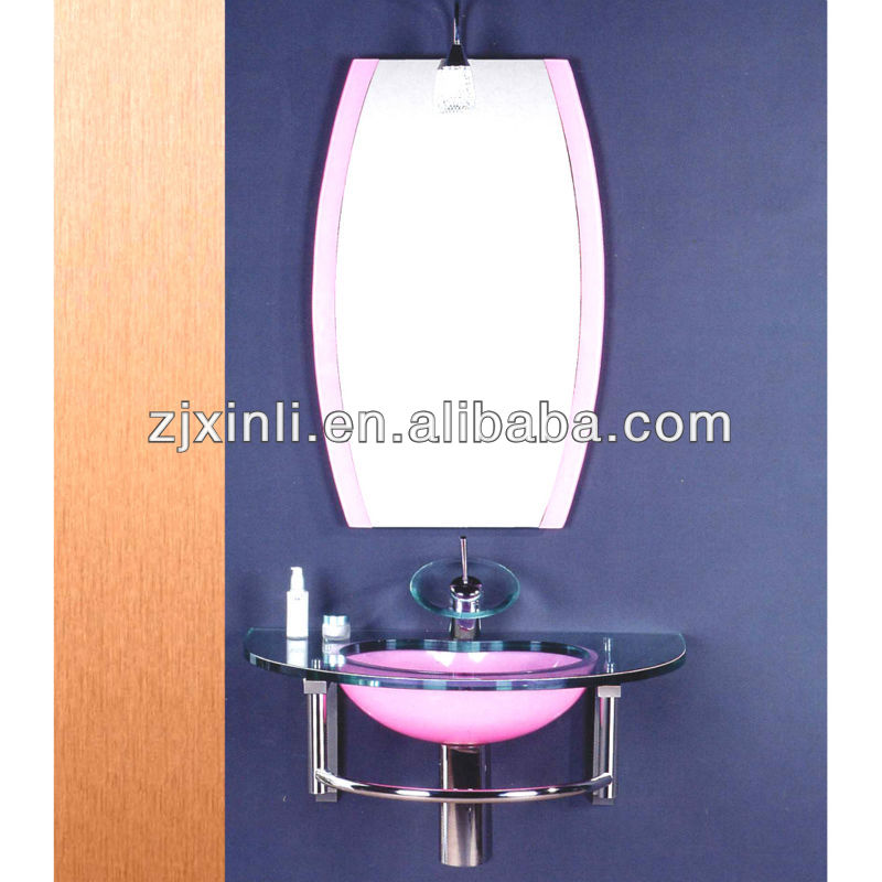 High Quality Tempered Bathroom Glass Sink, Red Color Glass with Stainless Steel Holder
