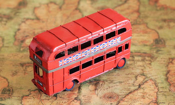 Collectible metal model bus antique double-decker bus model for home decoration