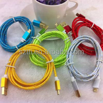 2014 colorful nylon Braided Aluminum Alloy Cover micro usb cable from shenzhen factory
