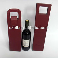 Portable faux leather wine carrier