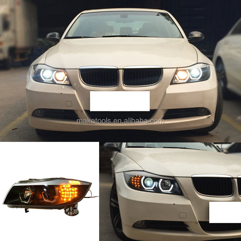 Super Bright For BMW 3 Series E90 05-12 Bi-xenon Halo High+Low Beam Headlight