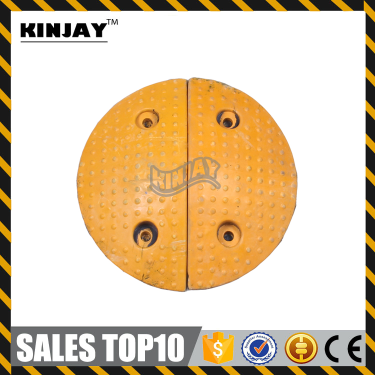 Durable Yellow Round Rubber Speed Bump One Way Speed Bump
