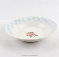 Turkey design round shape porcelain plates full decal ceramic plate with 1c logo printed