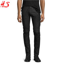 New Apparel Fashion Style Wholesale High Quality Black Jeans Coated Denim Skinny Moto Jeans For Man