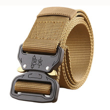 4.3cm x125cm nylon tan color outdoor sports tactical belt, braided custom logo fabric military belt, fashion climbing belt