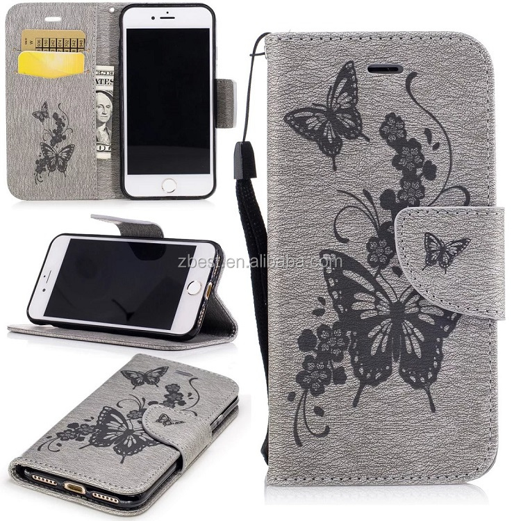New Products Butterfly PU Leather Flip Wallet Card Holder Phone Case For iPhone