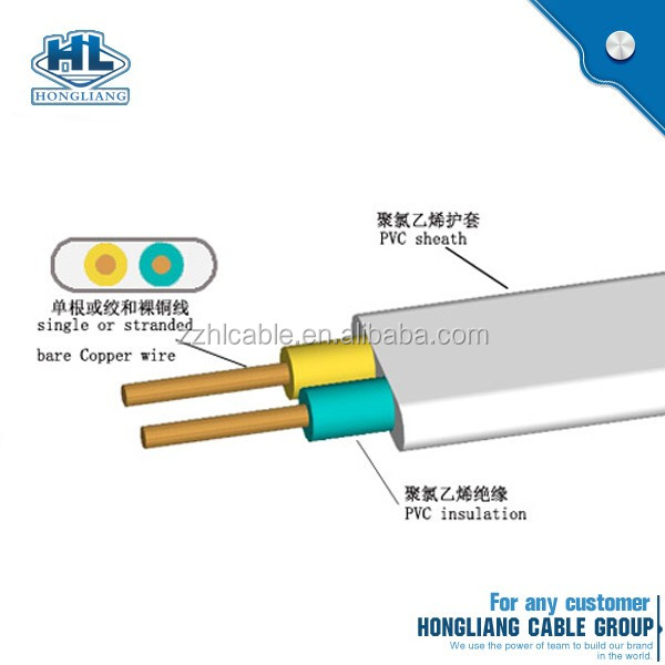 Flat Conductor Power Cable : Cu conductor flat twin with earth cable wire power