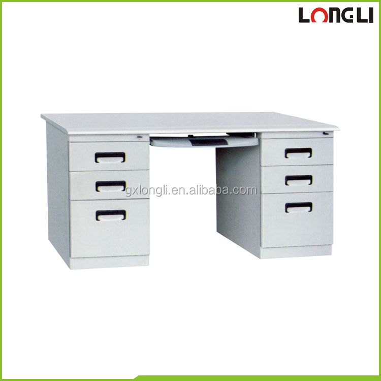 Double side modern metal frame office desk/metal office desk with drawers