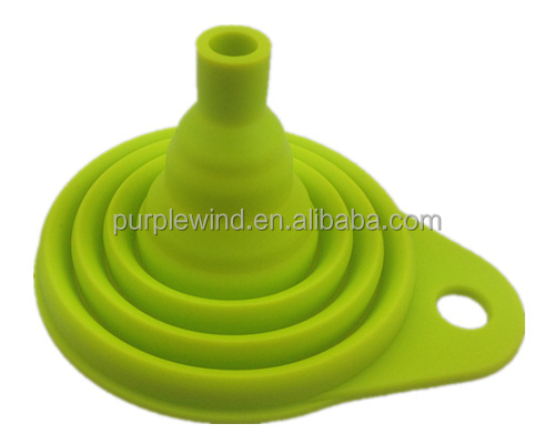 Durable 5 layer Silicone foldable funnel kitchenware collapsible funnel
