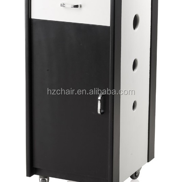 2015 Most Popular Lockable Hairdressing white and black salon working trolley/High quality wooden salon trolleys