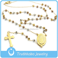Truthkobo Vacuum Plating New Design Religious Jewelry Stainless Steel Three Colors Bead Style Necklace with Cross