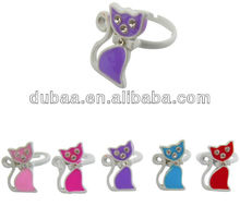 Adjustable Kids Rings Beautiful Cat Rings with White Crystals Kitty Ring for Promo Gifts
