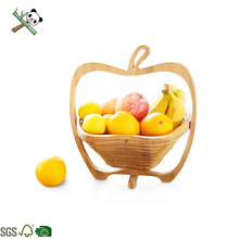 apple shape Rotatable bamboo folding fruit basket wholesale