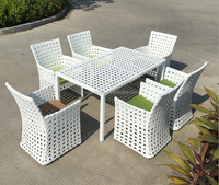 UV Resistant Comfortable Modern Design Poly Rattan Glass Dining Table Set Outdoor Garden Furniture