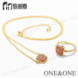 Fashion Design Orange Druzy Jewelry Set Gold Plated Ring And Necklace For Women