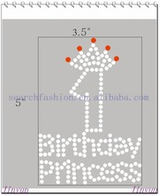 hot fix 1st birthday princess rhinestone heat transfer design