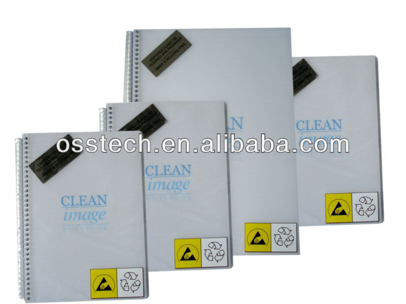Cleanroom High-density polypropylene material Cover Notebook Low-sodium inks printed lint free notebook