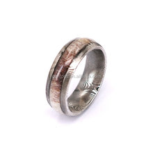 Men and Women Damascus Steel and Deer Antler Wedding Engagement Ring Free Wood Jewelry Ring Box