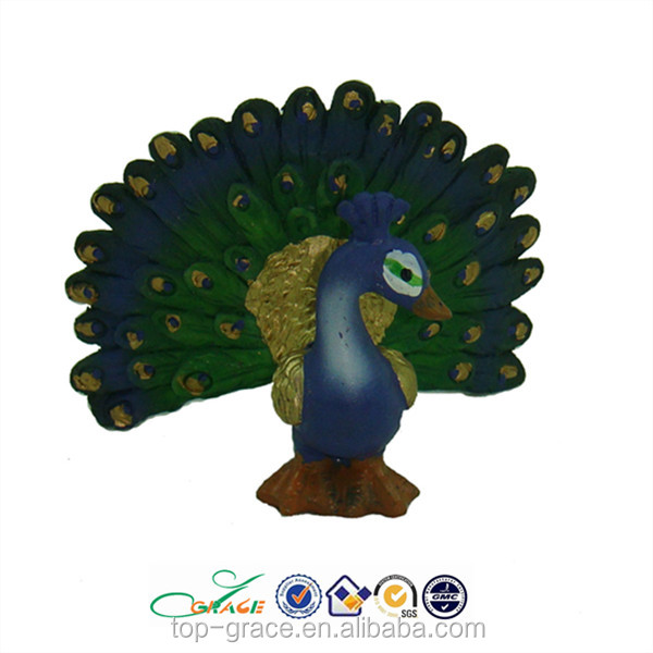 Resin mini peacock statue lucky handicraft
