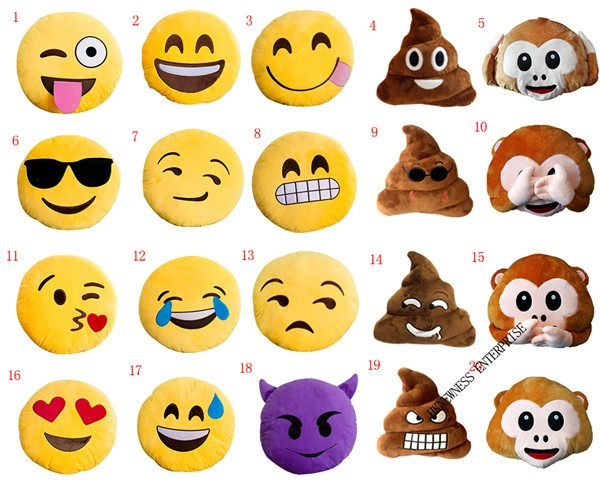 factory kinds emoji face style pillow,poop emoji pillow,poop shaped plush emoji pillow