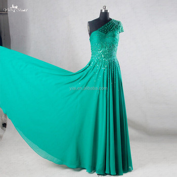 RSE730 One Shoulder Sequin Beaded Japanese Long Emerald Green Prom Dress