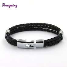 2017 Smart Stainless Steel Magnetic Clasps Genuine Leather Braided Bracelet For Men