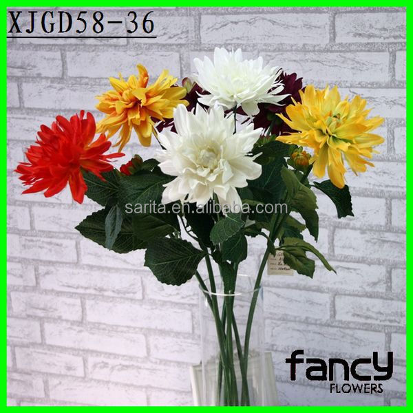74 cm artificial dahlia, single stem 2 heads silk flowers for home decor
