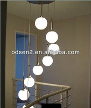 Odsen high quality white glass ball stairs pendant light for hotel or home made in ZhongShan China