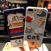 Custom 3d lenticular silicone anime cartoon cat cell phone case for iphone 6
