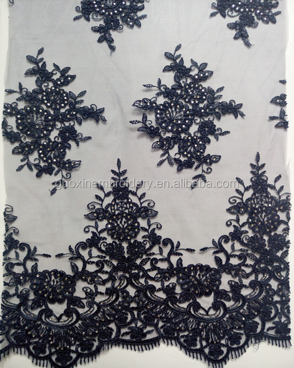 Graceful navy embroidery lave fabric decorate with rhinestone for wedding fress/evening dress/Garment