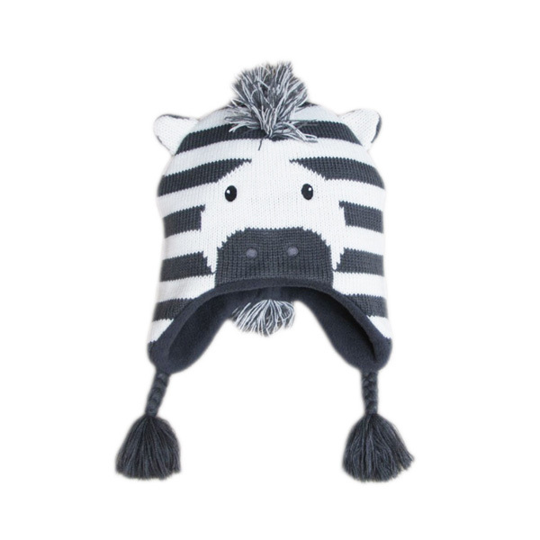 Alibaba online wholesale lovely braid earflap beanie hats kids knitted hat with animal pattern