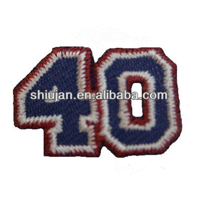 team numbers embroidery logo/adhesive embroidery logo patch/embroidery number sleeve emblem