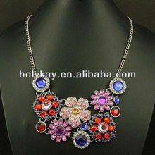 2014 spring fashion jewelry on china alibaba, trendy colour tropical crystal flower necklace