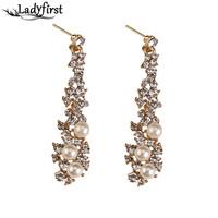 Ladyfirst 2016 New Long Simulated Pearl Statement Rhinestone Mai Stud Earrings Antique Vintage Women Mai Jewelry 3413