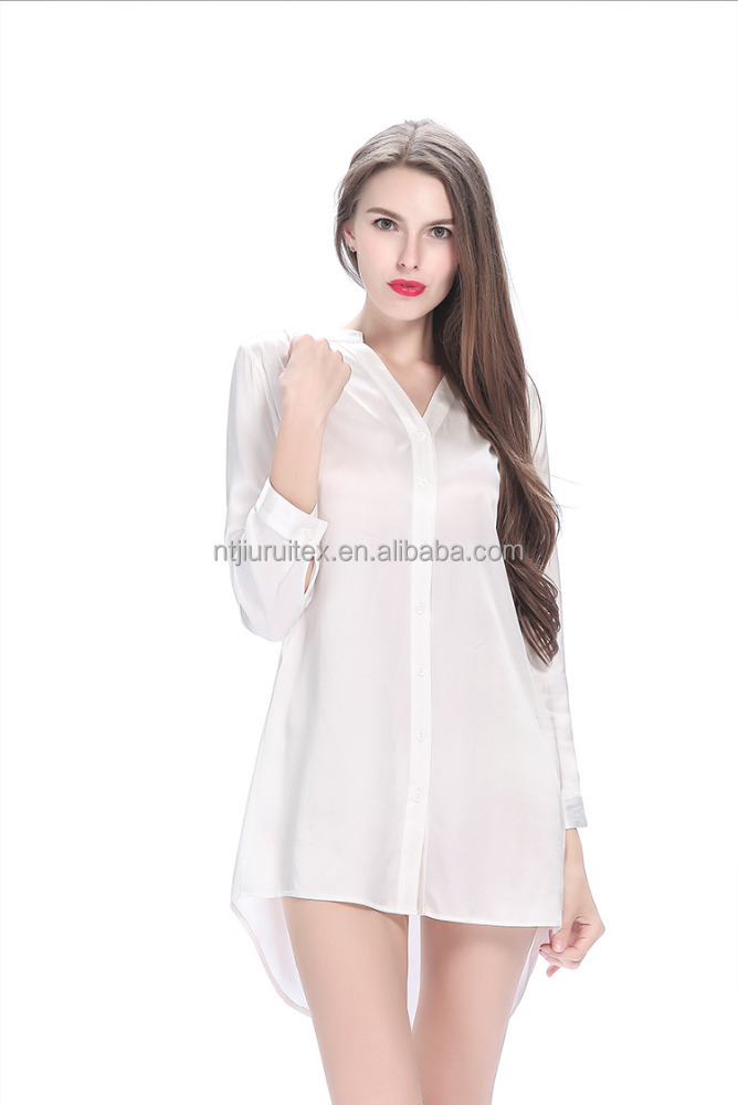 Wholesale Long Sleeve 100% Plain Silk Satin Ladies Sleep Nightshirts