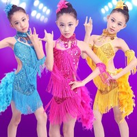 Fancy Child Girls Fringed Latin Dance Dresses With Open Hot Sexy Girl Photo