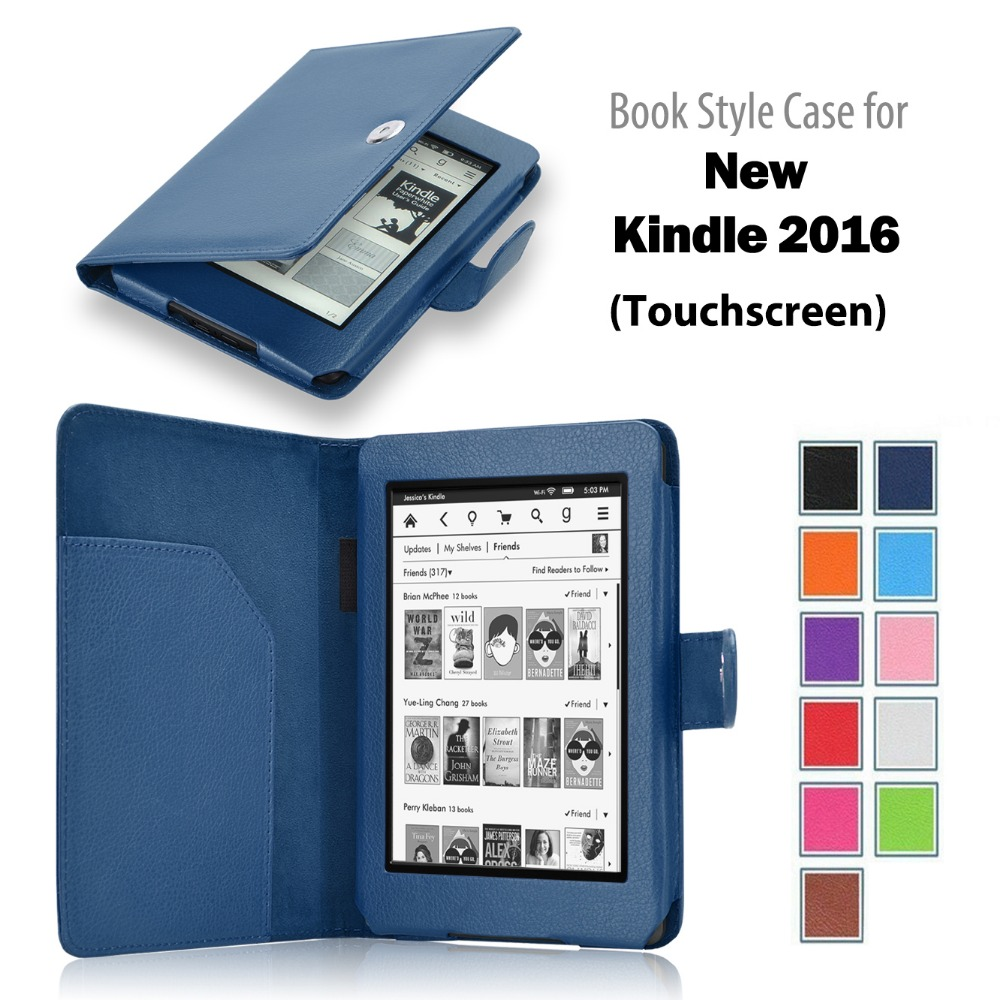 2016 new Flip book style leather case cover for Kindle Voyage E-reader tablet case