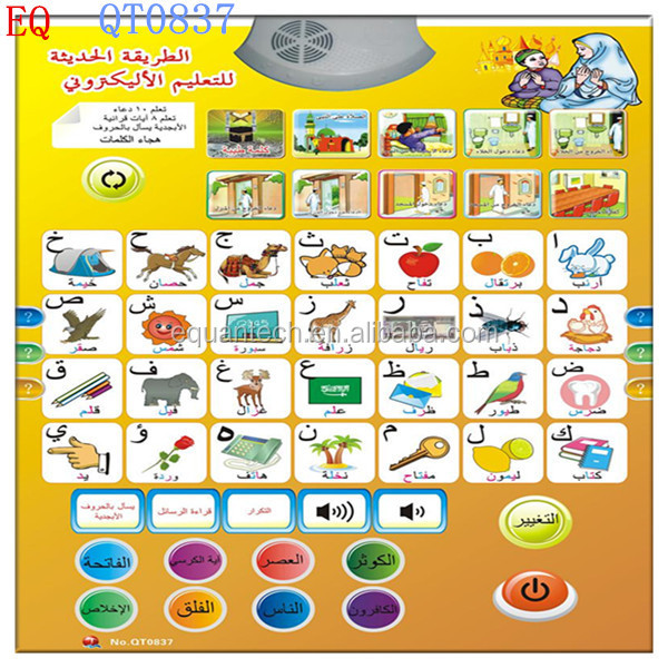 Educational Islamic the Arabic phonetic chart for kids learning words