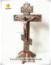 Antique red copper / purple bronze church decoration metal catholic standing crucifix, handing religious cross