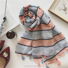 Wholesale Cotton Viscose Scarf Striped Tassel Hijab High Quality Muslim Long Shawl Wraps Fashion Scarves