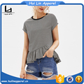 Cuffed sleeve frill trim asymmetrical ruffle hem striped t shirt plain cotton