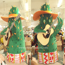 Hot sales green play guitar tree mascot costume christmas carnival