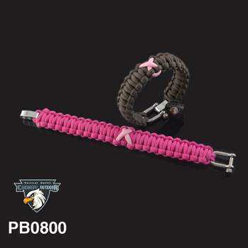 Ribbon Breast Cancer Awareness paracord bracelets